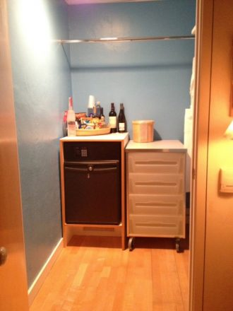 I was impressed with the size of the closet and nice selections in the minibar at the Standard Miami. (mobile photography