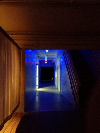 IPhoneography image of the hallway at Standard Miami is indoor outdoor, so it was slippery when wet.