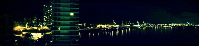 Miami nighttime panorama, Mobile photography, autostitch