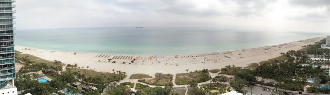 Panorama picture of South Beach from Room at the Shore Club, Mobile photography, autostitch