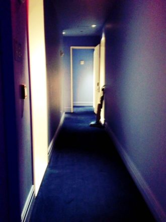Blue hallway at the Mondrian soho