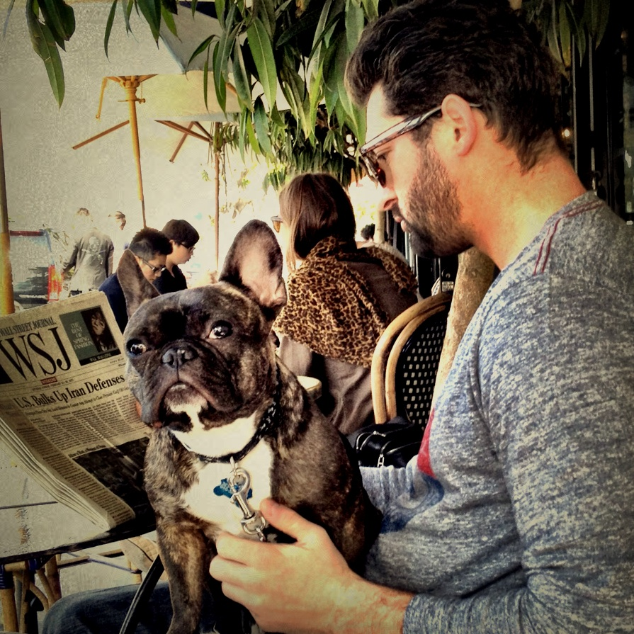 Dining al fresco with your French bulldog in your lap definitely means it's spring. Los Angeles, mobile photography