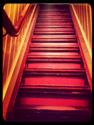 Steep Staircase at the Anne Frank House. Mobile photography.