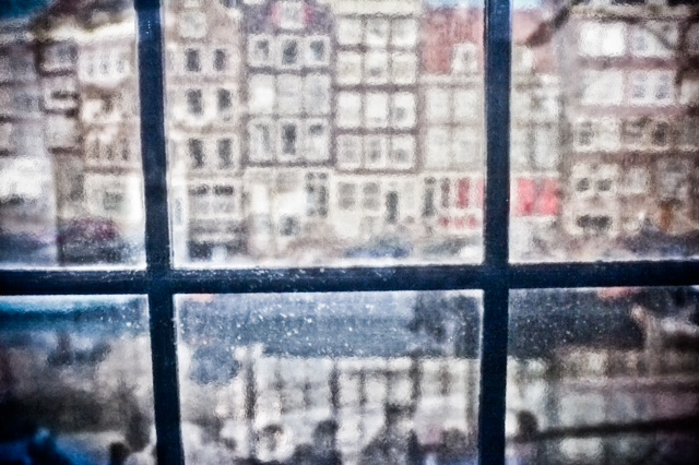 Through the window of the Anne Frank House. Shot with my Fuji X100