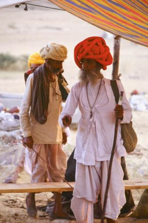 Colorful turban satthe Pushkar camel fair