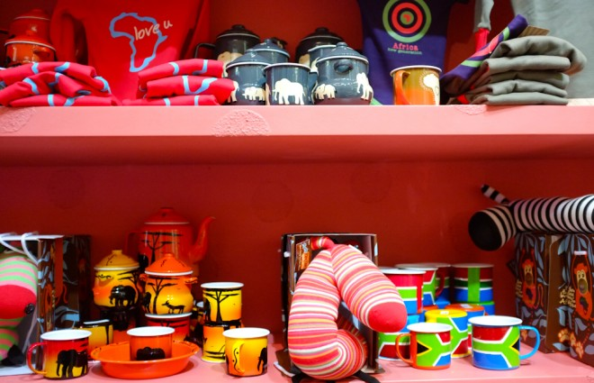 Selection of colorful South African souvenirs