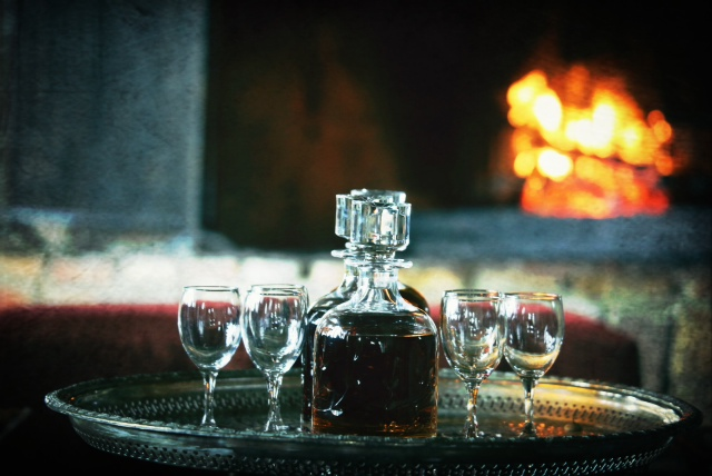 Cozy fireplace and sherry set-up at River Lodge