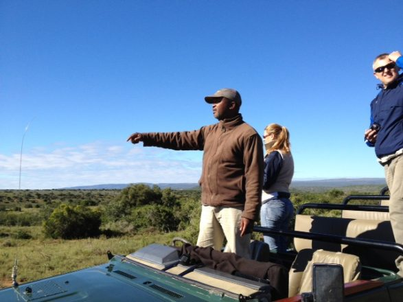 Tracker tracking on a game drive