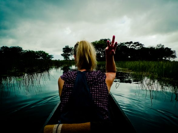 Selfportrait in a canoe Okavango