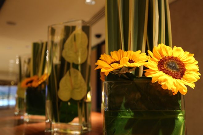 Sunflowers grace the lobby of the Landmark Mandarin Oriental (add hyperlink) in Hong Kong. (image shot with my Fuji X100)