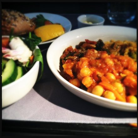 Vegetarian curry from Heathrow to Los Angeles.United Express Dine