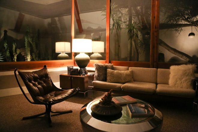 Hotel Lautner room - sitting area at night