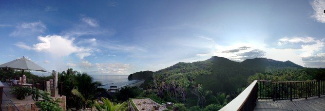 A panorama from the deck of the Pacific ocean, the beach, and the Mexican jungle- such a diverse property
