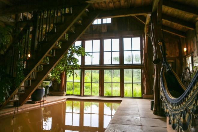 An indoor hammock in the Bath House at Dunton Hot Springs