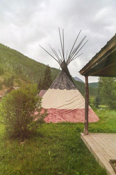 An Atmospheric teepee on the Dunton Hot Springs Grounds