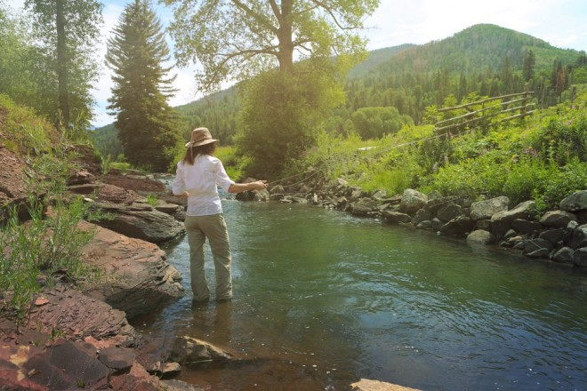 Fellow Cresto Ranch guest Valerie enjoyed the meditative zen of fly fishing in the Dolores River