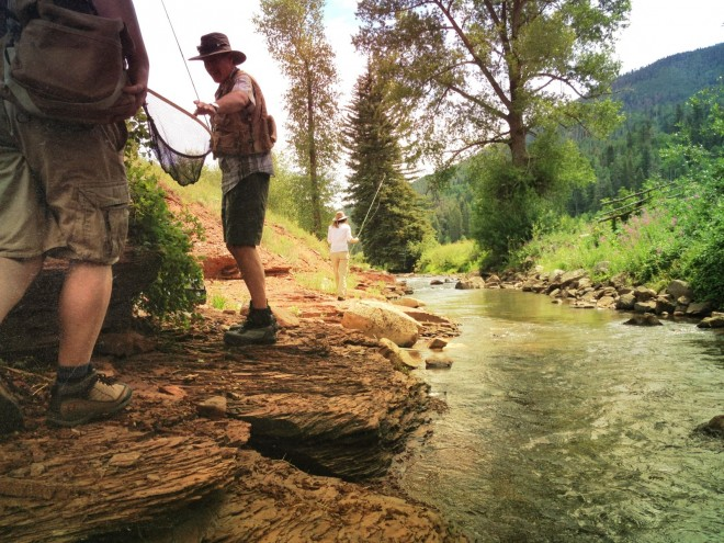 Fly fishing along the bank of the west fork of the Dolores river