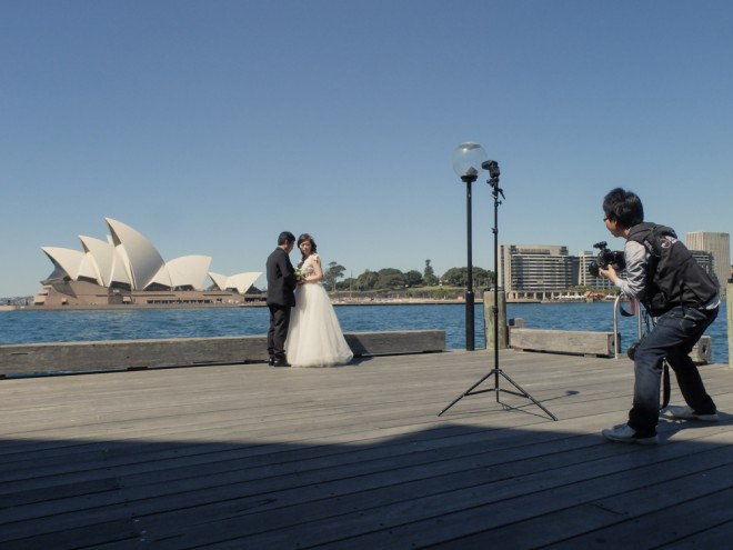 The Opera House is a popular background for wedding photos in Sydney
