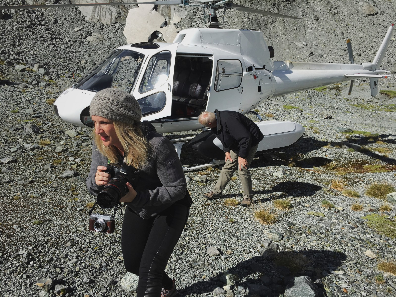Here I am exiting the helicopter to explore the Fiordland